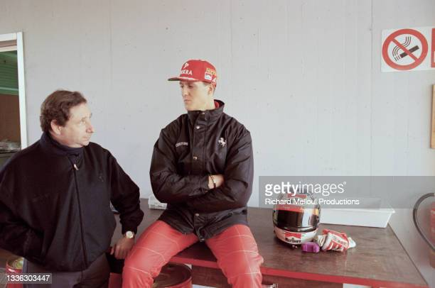 Jean Todt and Michael Schumacher at the Ferrari Stable in Maranello, Italy.
