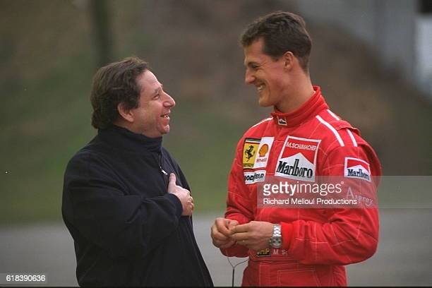 Jean Todt and Michael Schumacher on the Fiorano circuit