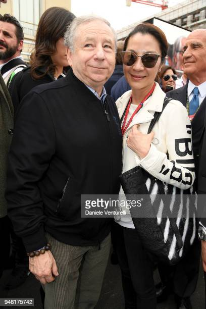 Jean Todt and Michelle Yeoh attend Rome EPrix on April 14 2018 in Rome Italy