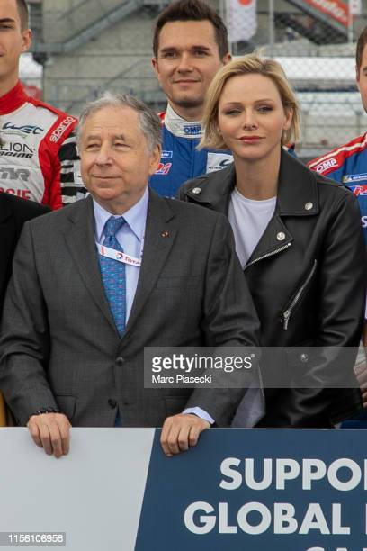 Jean Todt and Princess Charlene of Monaco attend the 24 Hours of Le Mans race on June 15, 2019 in Le Mans, France.