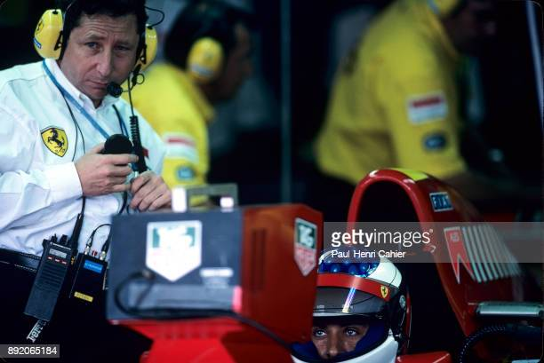 Jean Todt Jean Alesi Ferrari 412T2 Grand Prix of Germany Hockenheimring 30 July 1995 Jean Todt with Jean Alesi in the Ferrari garage during practice...
