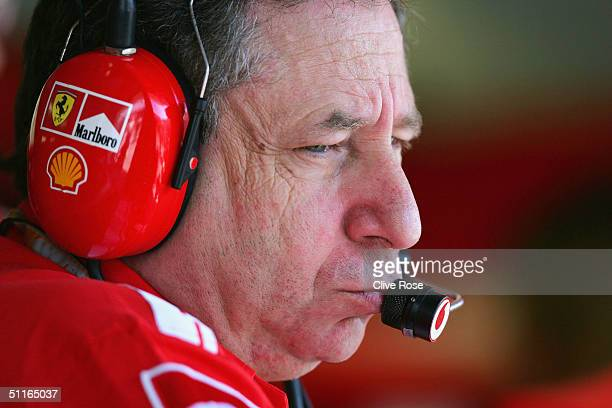Jean Todt of Italy and Ferrari in the pits during the practice session for the Hungarian F1 Grand Prix at the Hungaroring Circuit on August 13 in...