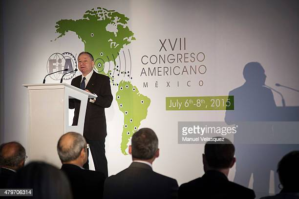 Jean Todt President of FIA speaks during the XVII Congreso Americano FIA 2015 at Hyatt Regency Mexico City on July 06, 2015 in Mexico City, Mexico.