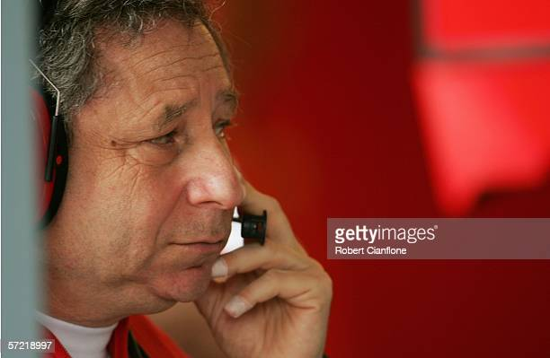 Jean Todt team principal of Ferrari stands in the pits during practice for the Australian Formula One Grand Prix at the Albert Park Circuit on March...