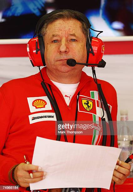 Jean Todt the Ferrari Team Principal is seen in his teams garage during qualifying for the French Formula One Grand Prix at the Circuit de Nevers...