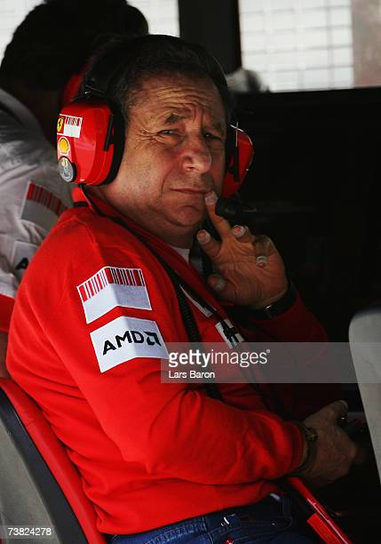 Jean Todt the Ferrari Team Principal sits on the pitwall during the practice for the Malaysian Formula One Grand Prix at the Sepang Circuit on April...