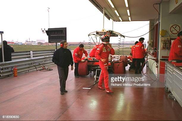 Jean Todt with Michael Schumacher on the Fiorano circuit