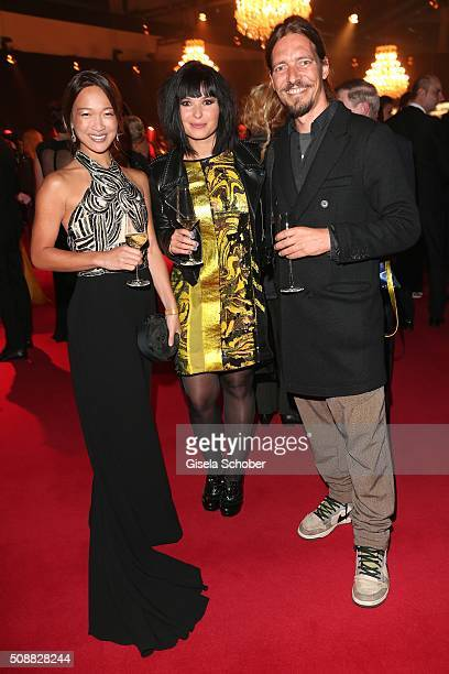 Jean Toh, Anna Fischer and her boyfriend Leonard Andreae during the Goldene Kamera 2016 reception on February 6, 2016 in Hamburg, Germany.