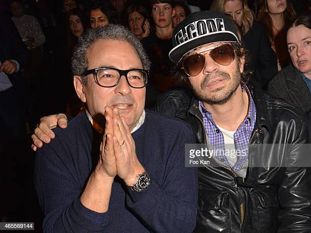 Jean Touitou from APC and Olivier Zahm attend the Olympia Le Tan show as part of the Paris Fashion Week Womenswear Fall/Winter 2015/2016 at Salle...