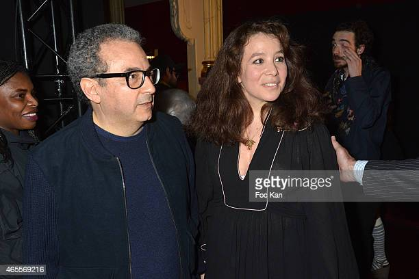 Jean Touitou from APC and Olympia Le Tan attend the Olympia Le Tan show as part of the Paris Fashion Week Womenswear Fall/Winter 2015/2016 at Salle...