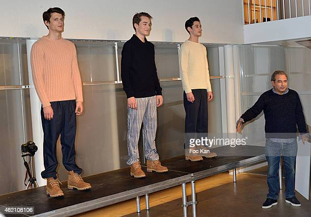 Jean Touitou presents some models during the APC Menswear Fall/Winter 20152016 show as part of Paris Fashion Week on January 24 2015 in Paris France