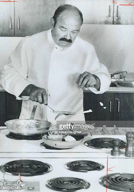 Jean Troisgros lifts the salmon gently from the pan as he prepares his favorite recipe salmon with sorrel sauce in The Star Kitchen Jean says having...