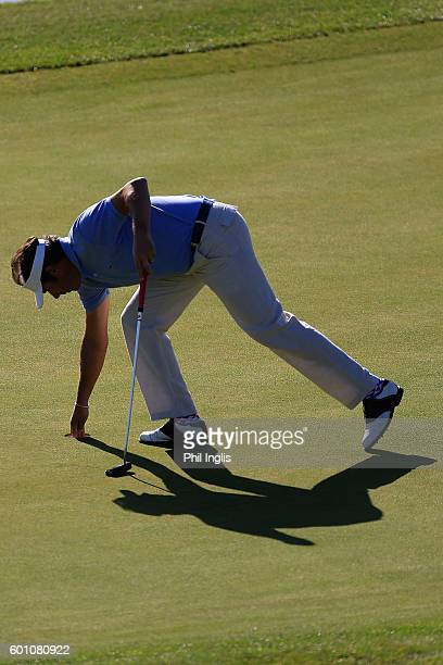 Jean Van De Velde of France in action during the first round of the Paris Legends Championship played on L'Albatros course at Le Golf National on...