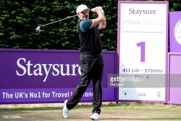Jean Van De Velde of France in action during the ProAm ahead of the Staysure PGA Seniors Championship at Formby Golf Club on July 28, 2021 in Formby,...