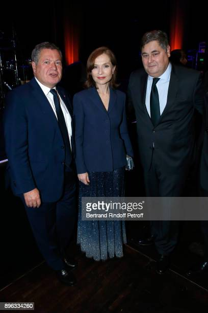 Jean Veil Isabelle Huppert and PierreFrancois Veil attend the Gala evening of the PasteurWeizmann Council in Tribute to Simone Veil at Salle Pleyel...
