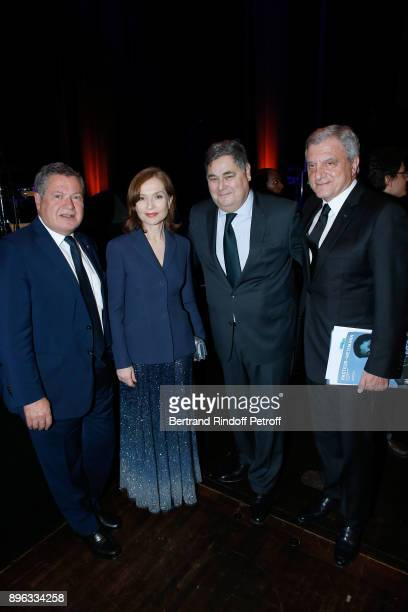 Jean Veil Isabelle Huppert PierreFrancois Veil and CEO Dior Sidney Toledano attend the Gala evening of the PasteurWeizmann Council in Tribute to...