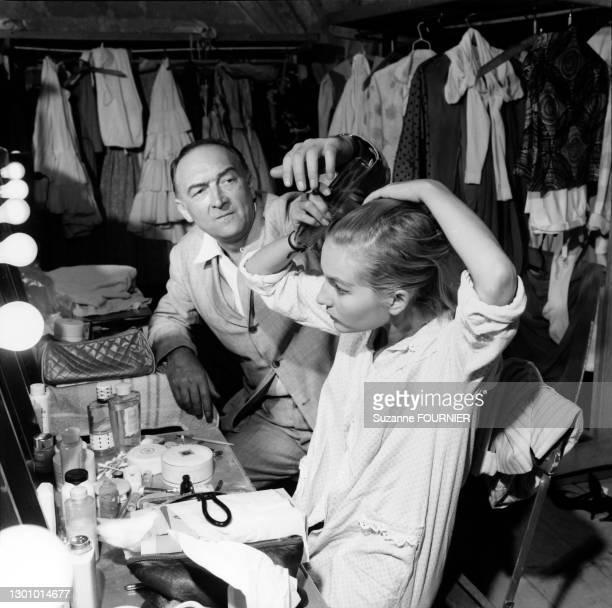 Jean Vilar And His Daughter Dominique Backstage Before To Play La Guerre De Troie, Avignon, 1963.