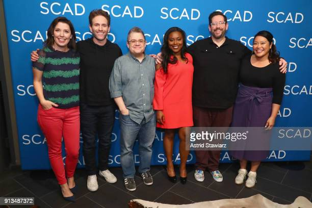 Jean Villepique Glenn Howerton Patton Oswalt Lyric Lewis Damian Holbrook and Mary Sohn attend a screening and QA for 'AP Bio' on Day 2 of the SCAD...