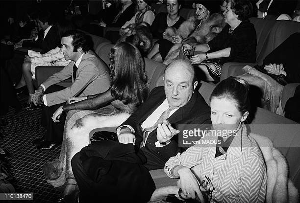 Jean Yanne Nicole Calfan Bernard Blier and wife Annette in Paris France on February 27 1974