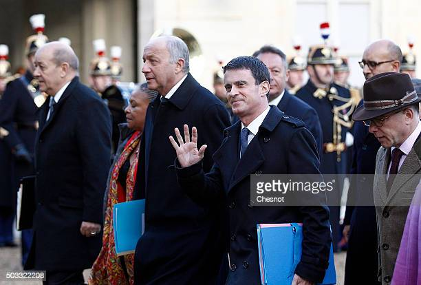 Jean Yves Le Drian French Minister of Defence Laurent Fabius French Minister of Foreign Affairs French Prime minister Manuel Valls and Bernard...