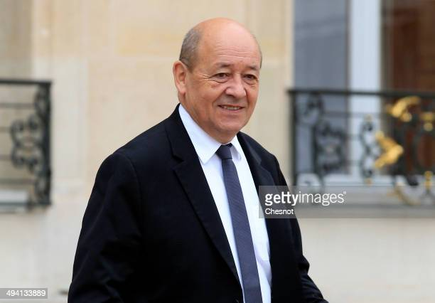 Jean Yves Le Drian Minister of Defence leaves after a cabinet meeting at the Elysee Palace on May 28 2014 in Paris France