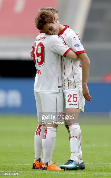 Jean Zimmer and Genki Haraguchi of Duesseldorf celebrate after the Second Bundesliga match between Fortuna Duesseldorf and FC Ingolstadt 04 at...