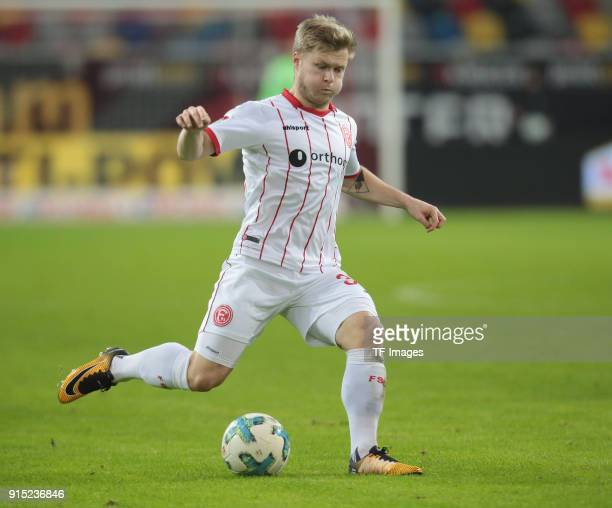 Jean Zimmer of Duesseldorf controls the ball during the Second Bundesliga match between Fortuna Duesseldorf and FC Erzgebirge Aue at ESPRIT arena on...