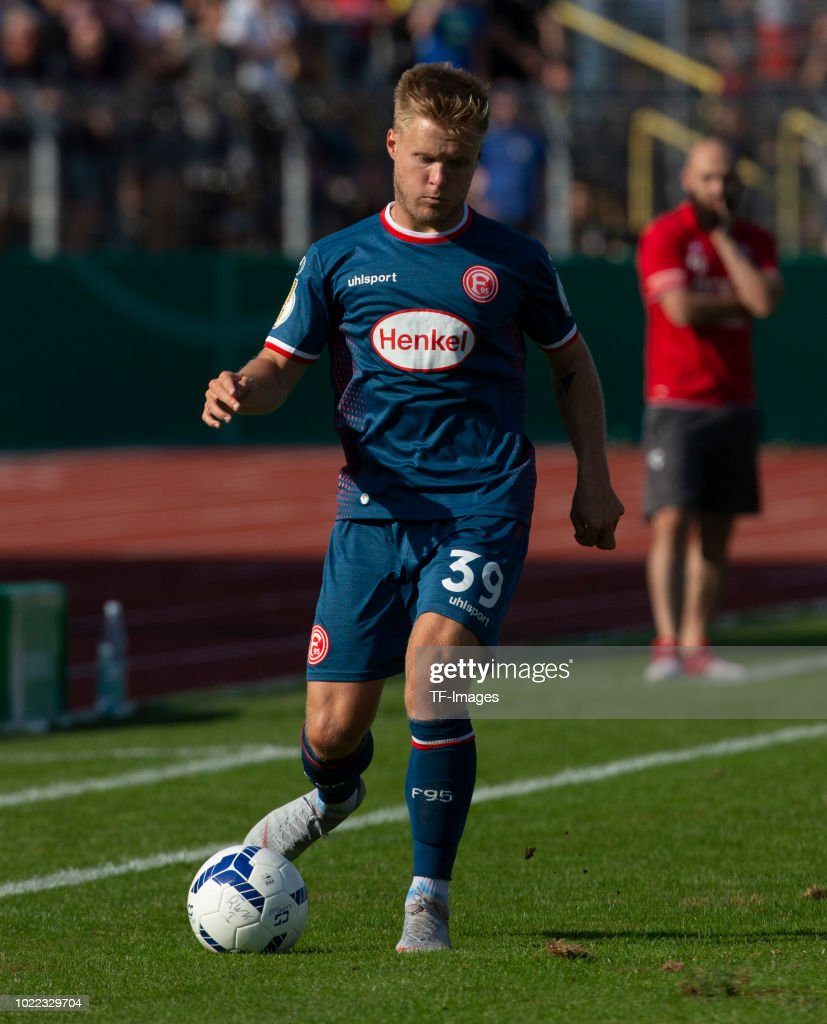 Jean Zimmer of Fortuna Duesseldorf controls the ball during the DFB Cup first round match between TuS RW Koblenz and Fortuna Duesseldorf at Stadion Oberwerth on August 19, 2018 in Koblenz am Rhein, Germany.