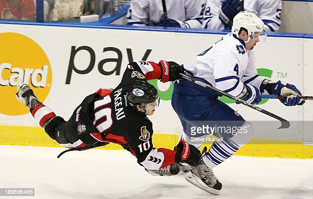 Jean_gabriel Pageau is sent flying trying to check Dylan Yeo as the Toronto Marlies lose to the Binghamton Senators 42 at the Ricoh Coliseum