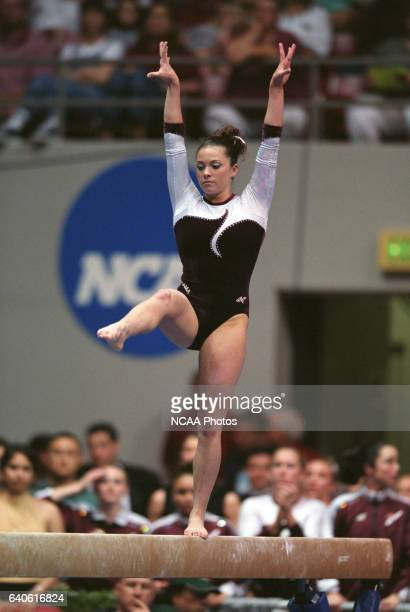Jeana Rice of the University of Alabama competes on the beam during the Super Six Team Finals of the NCAA Women's Division 1 Gymnastics Championship...