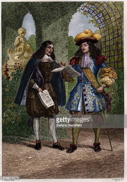 JeanBaptiste Colbert and Louis XIV king of France engraving