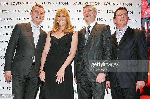 JeanBaptiste Debains Toni Collette Philip Corne and David Marcun attend the opening of the new Louis Vuitton store at Chadstone Shopping Centre on...