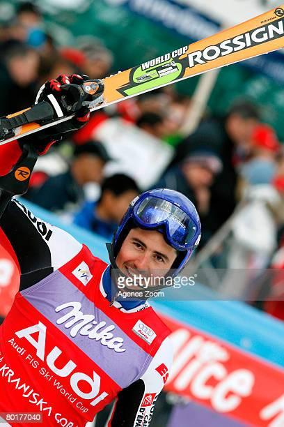 JeanBaptiste Grange of France celebrates 4th place during the Alpine FIS Ski World Cup Men's Slalom on March 09 2008 in Kranjska Gora Slovenia
