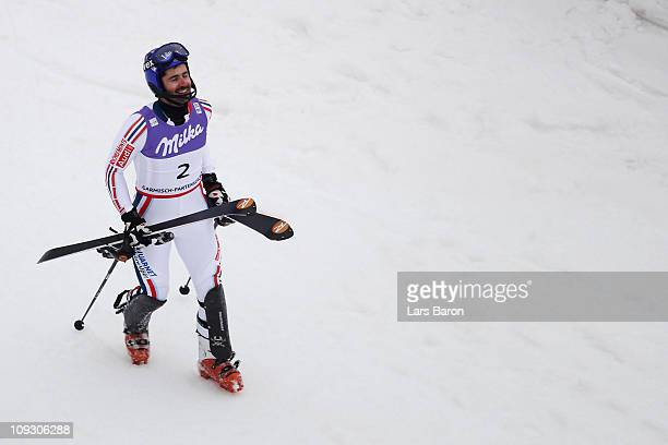 JeanBaptiste Grange of France celebrates in the finish area after winning the Men's Slalom during the Alpine FIS Ski World Championships on the...