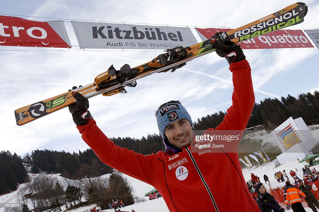 Jean-Baptiste Grange of France celebrates taking 1st place during the Alpine FIS Ski World Cup Men's Slalom on January 20, 2008 in Kitzbuehel, Austria.