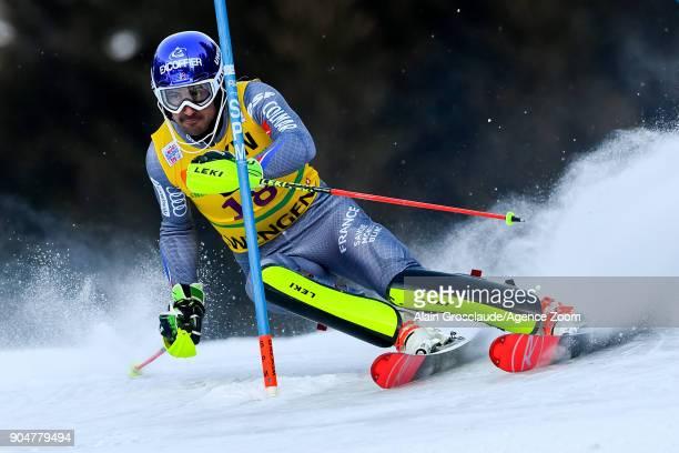 Jeanbaptiste Grange of France competes during the Audi FIS Alpine Ski World Cup Men's Slalom on January 14 2018 in Wengen Switzerland