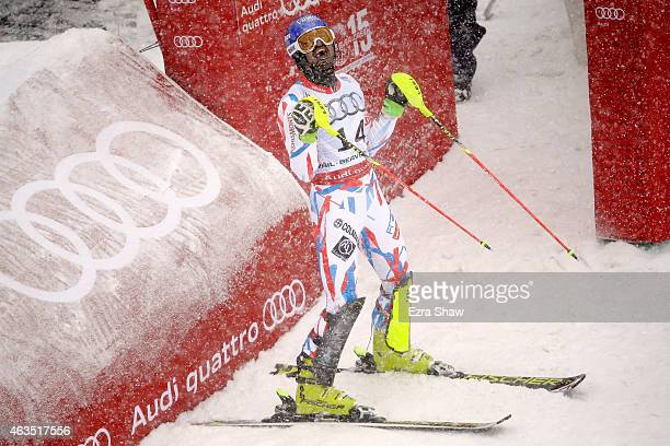 JeanBaptiste Grange of France reacts during the Men's Slalom on the Birds of Prey racecourse on Day 14 of the 2015 FIS Alpine World Ski Championships...