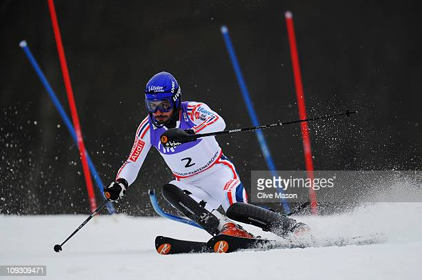 JeanBaptiste Grange of France skis on his way to winning the Men's Slalom during the Alpine FIS Ski World Championships on the Gudiberg course on...