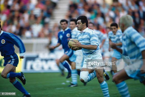 JeanBaptiste Laffond wearing a pink necktie during the final of the French Rugby Union championship between Racing Club de France vs SU Agen