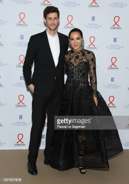JeanBaptiste Maunier and a guest attend Sidaction Gala Dinner 2020 At Pavillon Cambon on January 23 2020 in Paris France