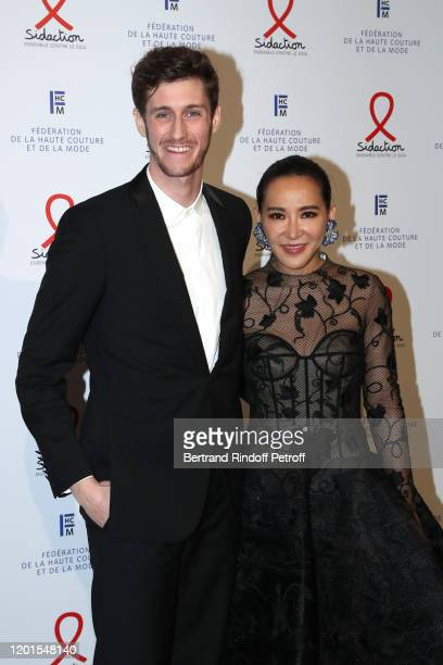 JeanBaptiste Maunier and a guest attend the Sidaction Gala Dinner 2020 at Pavillon Cambon on January 23 2020 in Paris France