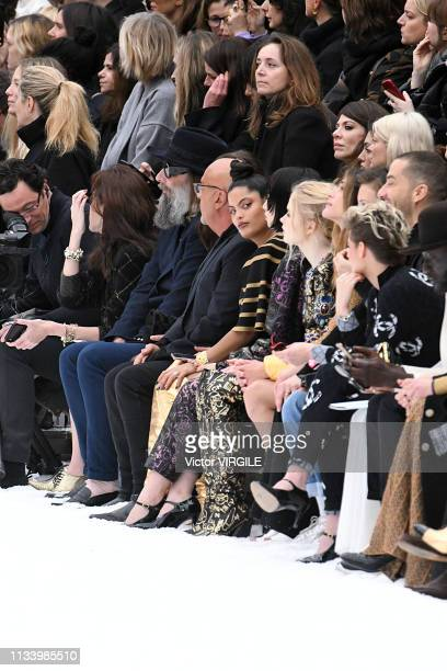 Jean-Baptiste Mondino, Naomi Diaz, Nana Komatsu, Ellie Bamber and Kristen Stewart during the Chanel Ready to Wear fashion show as part of the Paris...