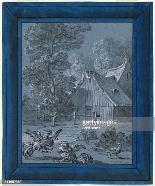 Jean-Baptiste Oudry, , French, 1686 - 1755, The Partridge and the Cocks, La Fontaine's Fables, brush and black ink, gray wash, and white gouache on...