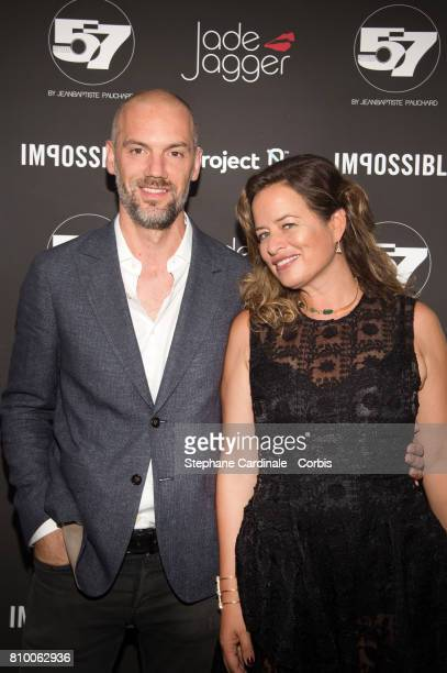 JeanBaptiste Pauchard and Jade Jagger attend the 'Don't Take it Personally' by Jade Jagger JeanBaptiste Pauchard Exhibition Party on July 6 2017 in...