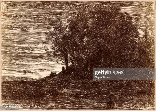 JeanBaptisteCamille Corot The Hermit's Woods or the Banks of Lake Trasim̬ne French 17961875 salted paper print