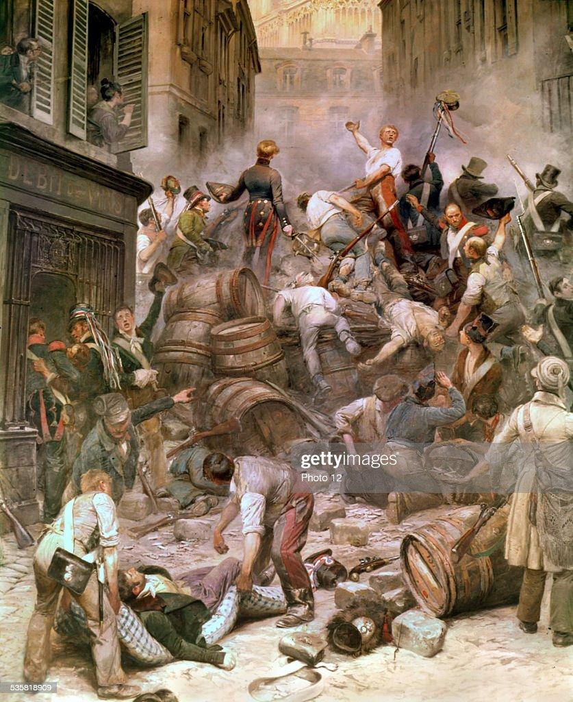 Detaille, Revolution of 1830. Barricades in Rue de la Mortellerie : News Photo