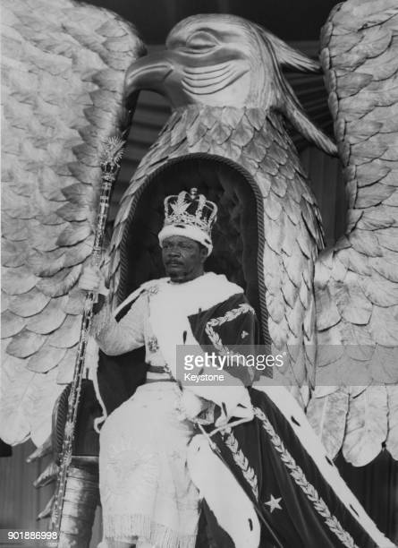 JeanBédel Bokassa the Emperor of Central Africa seated on a solid gold throne in the shape of an eagle during his coronation 4th December 1977