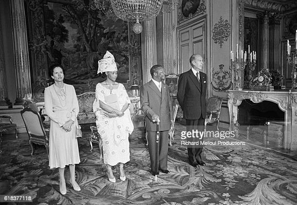 Jean-Bedel Bokassa, national head of state of the Central African Republic, and his wife Catherine attend lunch at the Palais de l'Elysee with French...