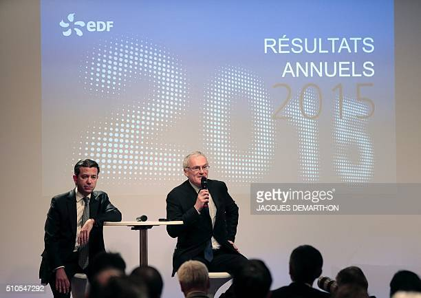 Jean-Bernard Levy, CEO of French state-owned electric utility company EDF and its senior executive vice-president Thomas Piquemal give a press...
