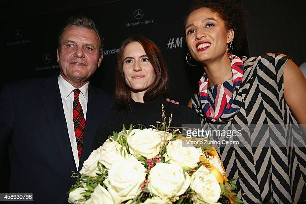 JeanCharles de Castelbajac Award Winner Elisa Kaufmann and Silvia Binggeli pose after the Annabelle Award presented by Paul Mitchell during the...